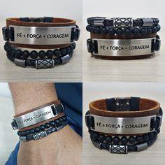 Kit 3 Pulseiras Masculinas Couro Fe+força+coragem Onix mens bracelets fashion style cocar brasil