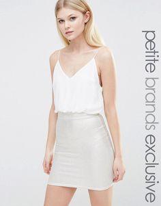 Изображение 1 из Платье 2-в-1 на бретельках с юбкой металлик TFNC Petite