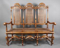 english charles ii style oak 3 seat settee english 20th century charles ii