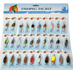 30Pcs/set Fishing Lures Spinners Various Assorted Laser Spinners Spoon Bait Fishing Tackle Hook Lure Kit On Card