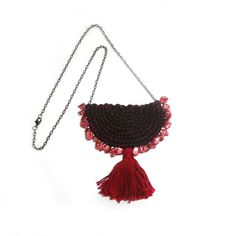 Red Tassel Necklace Pearl Bib Necklace Red Pearl by FabricTwist