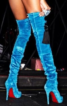 Glam Christian Louboutin  Turquoise Suede Thigh High Boots with Stiletto High Heels and Red Soles.