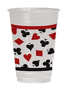 Use our Card Suit Cups at your casino theme party or poker night. The plastic cups feature the 4 card suits and and hold 16 ounces.