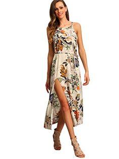 "Floerns Women's Floral Tie Waist Spaghetti Strap Split Boho Dress Multicolor XL. 100% Rayon. Spaghetti strap, sleeveless, flower print, side slit. Casual beach maxi dress for women, for summer. Model: Height:173cm/5'8"", Bust:89cm/35"", Waist:60cm/24"", Hip:90cm/35"", Wear: Size S. Please refer to Size Chart in Product Description as below."