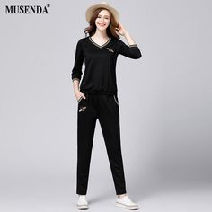 4ea38568a71 MUSENDA Plus 5XL Size Women Appliques Three Quarter Sleeve Top Elastic  Waist Pants 2017 Autumn Lady Casual Black Two Piece Sets