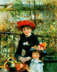 Renoir ~ Two-Sisters i love how she painted faces. they are so pretty and attractive