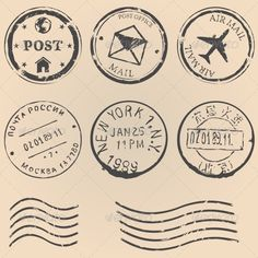 vector set of black postal stamps. mail post office air mail russian post american post new york china post wave stamp. Vintage Stamps, Vintage Ephemera, Vintage Labels, Office Stamps, Postage Stamp Design, Travel Stamp, Aesthetic Stickers, Travel Scrapbook, Vintage Scrapbook