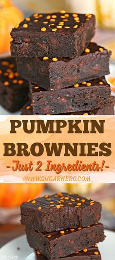 Pumpkin Brownies Pumpkin Brownies - These rich, brownies have a secret--they're made with just 2 ingredients! Enjoy them plain, or add an optional glaze for a double dose of chocolate. Pumpkin Brownies, Pumpkin Cheesecake, Chocolate Brownies, Mint Chocolate, Chocolate Chips, Fall Desserts, Delicious Desserts, Health Desserts, Brownie Mix Recipes