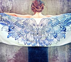 Women scarf, Original Art hand painted Butterflies in Indigo, stunning unique and useful, perfect gift. $48.00, via Etsy.