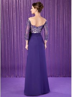 A-Line/Princess Off-the-Shoulder Floor-Length Chiffon Mother of the Bride Dress With Ruffle Lace Beading (008018708) - JJsHouse