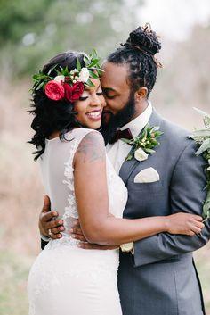 Romantic Crimson Floral Wedding in Willamsburg, VA: Sarah + Eric Wedding Poses, Wedding Couples, Wedding Portraits, Wedding Dresses, Wedding Ideas, Wedding Bride, African American Brides, Bride Pictures, Black Bride