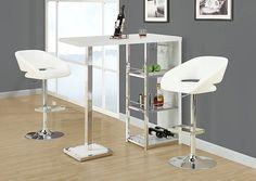 Monarch 2306 - White/ Chrome Metal Hydraulic Lift Barstool | Sale Price: $127.00