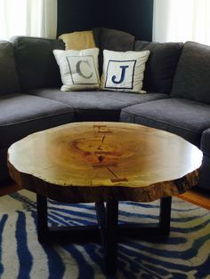 "This live edge spalted maple slice has a 40"" diameter and is 3"" thick. It features reclaimed American mahogany butterfly inlays to keep the slab from splitting (a natural response to the drying process) and accents against the lighter closed grain maple."