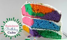 This Triple Layer Rainbow Birthday Cake is fun and easy to make. Start with a box mix end with a gorgeous colorful cake that's perfect for a birthday! Here are the easy instructions. 25th Birthday Cakes, Birthday Treats, 25 Birthday, Buttercream Icing Cake, Rainbow Sprinkles, Rainbow Cakes, Thing 1, Colorful Cakes, Rainbow Birthday