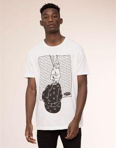 Pull&Bear - man - t-shirts - oversize printed tee - white - 05238511-V2016