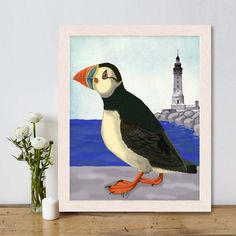 Puffin Print,  Puffin on Quay, Puffin art print Nautical print sea picture beach house decor nautical picture puffin painting sea bird