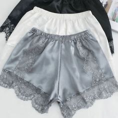 4d26bcd36 Lady Lace Floral Panties Underpants Imitated Silk Pajamas Underwears Soft  Shorts Soft Shorts