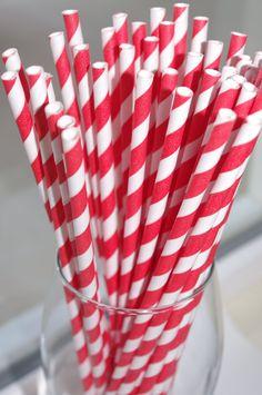 ROCKET RED & WHITE Striped Pixie Sticks---Paper  Straws---50ct with Free Printable diy Flags. $7.99, via Etsy.