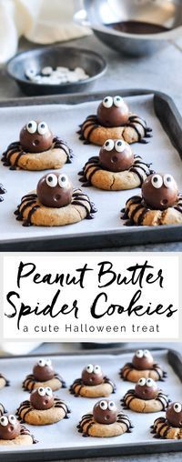 Butter Spider Cookies Peanut Butter Spider Cookies with Lindt Lindor Chocolate Truffles - the cutest Halloween treats!Peanut Butter Spider Cookies with Lindt Lindor Chocolate Truffles - the cutest Halloween treats! Cute Halloween Treats, Halloween Baking, Halloween Desserts, Halloween Cupcakes, Holiday Baking, Fall Baking, Halloween Chocolate, Healthy Halloween, Halloween Halloween