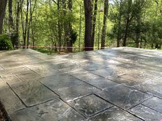 How to :: Stamped Concrete Overlay Exactly what I want for the space in the back of the house that's kind of tucked into the woods! Concrete Overlay, Concrete Pavers, Stamped Concrete, Decorative Concrete, Patio Yard Ideas, Backyard Patio, Backyard Ideas, Concrete Projects, Outdoor Projects