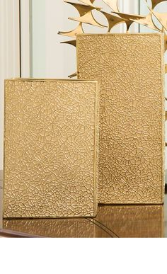 Global Views - Organic Lace Vase Gold Med - Alchemy Fine Home Gold Home Accessories, Decorative Accessories, Accessories Online, Lace Vase, Rectangle Vase, Jars For Sale, Gold Home Decor, Gold Vases, Large Furniture