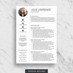 Modern Resume Template For Word  Minimalist Resume Design