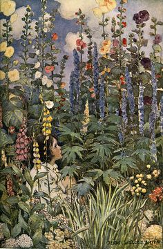 Famous Girl Among Foxgloves and Gorgeous Flowers—Jessie Wilcox Smith (by finsbry)
