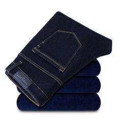 Winter Mens Casual Add Wool Jeans Thick Keep Warm Straight Pants at Banggood