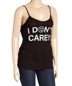 acf3e610de9e82 Love this Black  I Don t Care  Emoticon Tank - Plus on