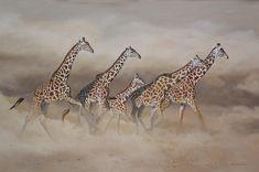 Artist Karen Laurence-Rowe* - Powerful African Wildlife Bursts Out of Lively Landscapes - My Modern Met Wildlife Paintings, Wildlife Art, Animal Paintings, Animal Drawings, African Elephant, African Animals, African Art, Wild Animals Pictures, Animals Images