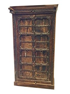 Reclaimed Vintage Hand Carved Indian Cabinet Teak Wood Warm Cottage Rustic Storage Armoire Indian Furniture Mogul Interior http://www.amazon.com/dp/B00PJP9U34/ref=cm_sw_r_pi_dp_vuEDub0HMF17P