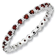 Stackable Expressions™ Prong-Set Garnet Eternity Style Ring in Sterling Silver - View All Rings - Zales