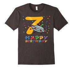Men's 7th Seven Birthday Flying Saucer Aliens Happy Day Kids Shirt 2XL Asphalt