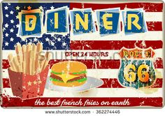 route sixty six retro diner sign. Vector. Fictional artwork