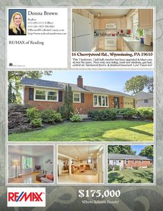 16 Cherrywood Rd., Wyomissing, PA 19610.  Wilson School District, Wyomissing Borough rancher.  3 bedrooms, 2 full baths, finished basement.  Hardwood Floors, central air, gas heat, low taxes.  Gorgeous flat backyard.  Call for a showing. 610-246-1839.  #RealtorDonnaBrown #RemaxofReading #WilsonHomeforSale #DonnaGetsItDone!