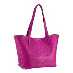 Magenta Teddie Tote | Embossed Python Leather | GiGi New York (And it has to be personalized--of course!)