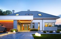 Projekt domu Hiacynt on Behance Modern Pool House, Modern Family House, Modern House Facades, Modern Bungalow House, Modern House Design, House Plans Mansion, Dream House Plans, Architect Design House, House Outside Design