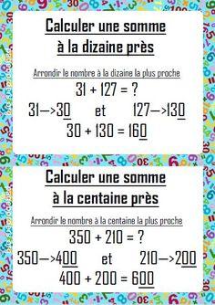 affichage calcul mental:calculer une somme à la dizaine ou centaine près