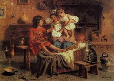 Eugenio Zampighi (1859-1944) - Interno di cucina rustica   EUGENIO ZAMPIGHI (Modena, 1859 – Maranello, 1944)   #TuscanyAgriturismoGiratola