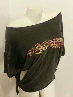 Harley Davidson Cutted Vintage Distressed Women Black Shirt