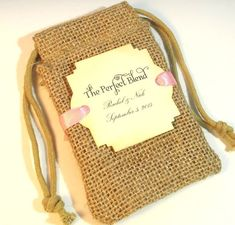 Burlap favor bags Personalized The Perfect Blend by Pedoozle