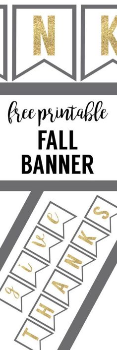 Thanksgiving Banner Free Printable. This give thanks free thanksgiving banner printable with fun sparkly gold letters and grey trim is fun for your thanksgiving decor. Print the give thanks banner for free.