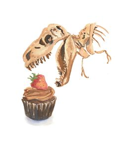 Dinosaur Watercolor PRINT - Cupcake Watercolor, 11x14 Print, Kitchen Art, Food Painting