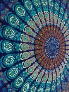 "Amazon.com: Handicrunch Indian Peacock Deep Blue Hippie Hippy Boho Meditation Mandala Tapestries Tapestry Wall Hanging Indian Wall Art 86x94"" By Bhagyoday: Home & Kitchen"