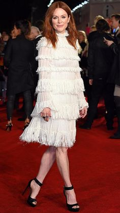 Julianne Moore in a white Alexander McQueen fringe dress