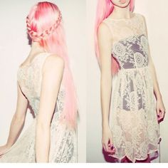dress, girl, lace, pink hair, thinspo