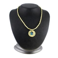 "Lydell NYC Yellow Gold GP Amulet Simulated December Birthstone 16"" Necklace 522D #LydellNYC #Pendant"