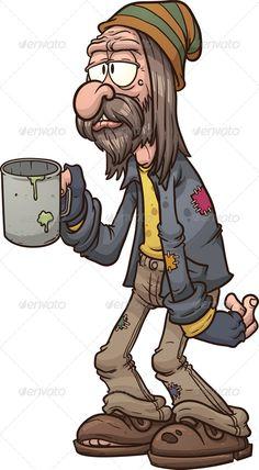homeless people: Cartoon beggar clip art illustration with simple gradients All in a single layer Cute Cartoon Drawings, Cartoon Kunst, Cartoon Faces, Cartoon Art, Art And Illustration, Character Illustration, Character Sketches, Graffiti Characters, Cartoon Characters