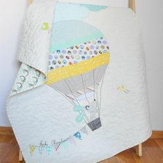 Modern patchwork baby quilt, the dog in the hot air balloon Quilt Baby, Baby Patchwork Quilt, Cot Quilt, Baby Girl Quilts, Girls Quilts, Nursery Bedding, Nursery Decor, Expecting Mom Gifts, Handmade Baby Quilts
