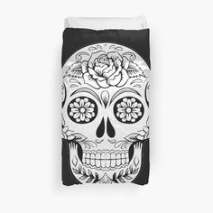 'Day of the Dead Mexican Skull' Duvet Cover by Mexican Skulls, Duvet Cover Design, College Dorm Bedding, Day Of The Dead, Duvet Insert, Duvet Covers, My Arts, Art Prints, Printed